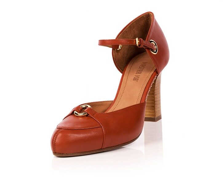 Mastra Ma' - Sara burnt orange ankle strap high heel with gold ring, studs, memory foam, platform