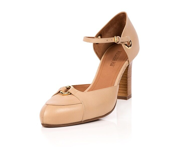 Mastra Ma' - Sara beige ankle strap high heel with gold ring, studs, memory foam, platform