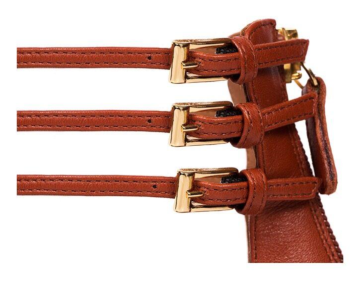 Mastra Ma' - Diana burnt orange ankle strap high heel with, platform, memory foam and anti-slip sole