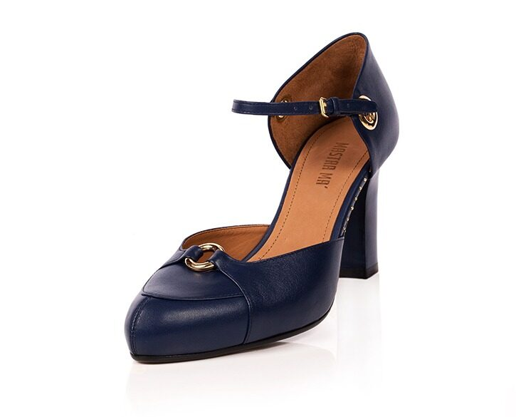 Mastra Ma' - Sara royal blue ankle strap high heel with gold ring, studs, memory foam, platform