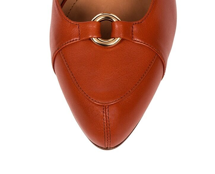 Mastra Ma' - Elena burnt orange ankle strap high heel with gold ring, studs, memory foam, anti-slip sole