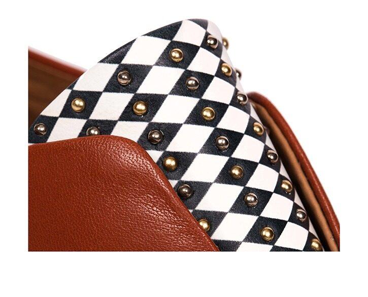 Mastra Ma' - Rosalba oxford shoe in burnt orange with diamond pattern and studs panel