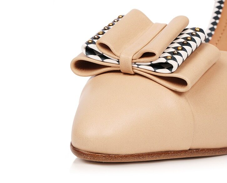 Mastra Ma' - Anna nude high heel with bow, studs, e heart and diamond pattern - detail