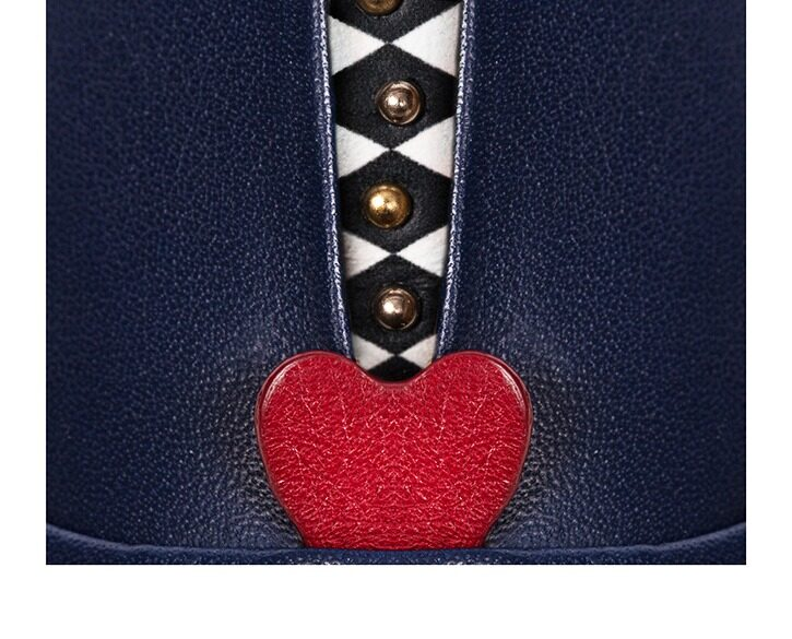Mastra Ma' - Rosalba oxford shoe in royal blue with red heart, memory foam and anti-slip sole