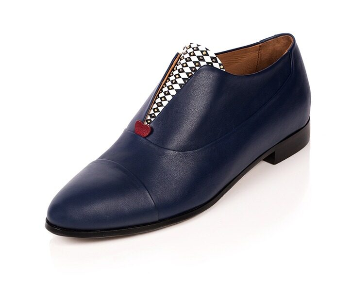 Mastra Ma' - Rosalba oxford shoe in royal blue with red heart, diamond pattern and studs