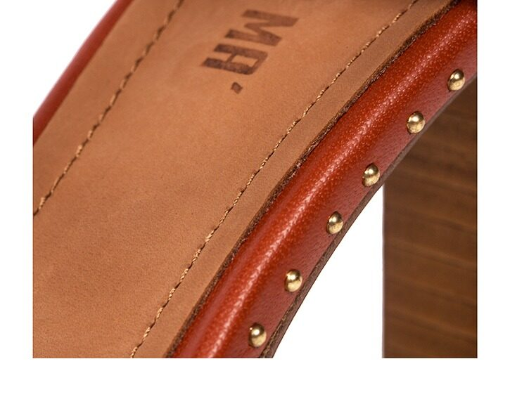 Mastra Ma' - Elena burnt orange ankle strap high heel with gold ring, studs, memory foam