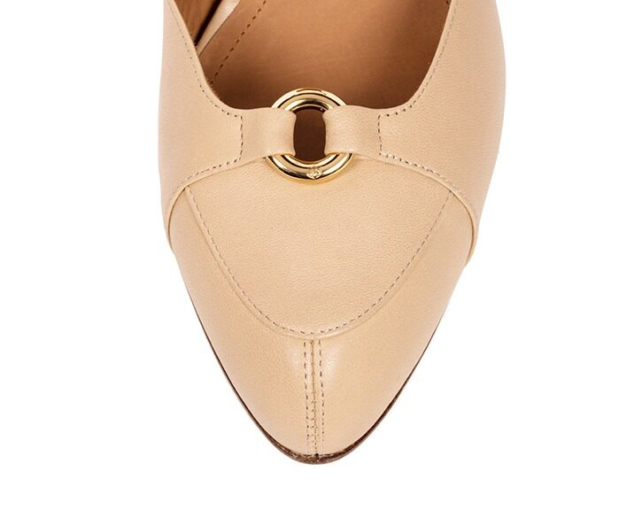 Mastra Ma' - Elena nude ankle strap high heel with gold ring, studs, memory foam, anti-slip sole