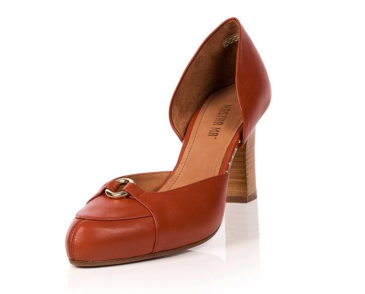 Mastra Ma' - Elena burnt orange ankle strap high heel with gold ring, studs, memory foam, platform