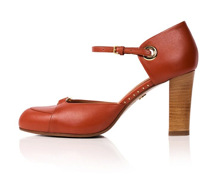 Mastra Ma' Sara burnt orange ankle strap high heel with gold ring, studs, memory foam, platform and anti-slip sole