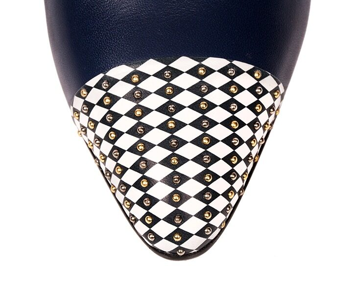 Mastra Ma' - Diana royal blue ankle strap high heel with, diamond pattern, studs, platform, memory foam and anti-slip sole