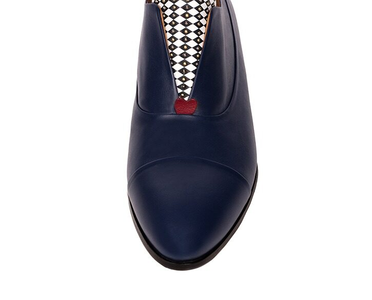 Mastra Ma' - Rosalba oxford shoe in royal blue with memory foam, diamond pattern and studs