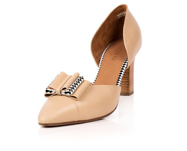 Mastra Ma' - Anna beige high heel with bow, studs, diamond pattern and platform