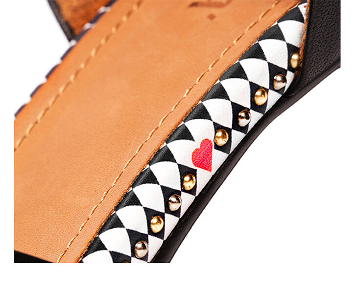 Mastra Ma' - Anna black high heel with, studs, e heart and diamond pattern - detail