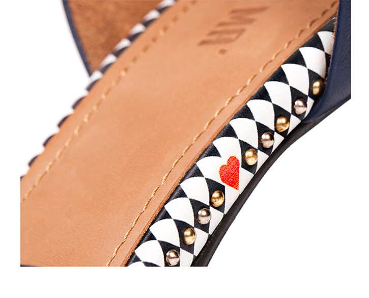 Mastra Ma' - Anna royal blue high heel with, studs, e heart and diamond pattern - detail