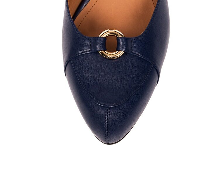 Mastra Ma' - Sara royal blue ankle strap high heel with gold ring, studs, memory foam, anti-slip sole
