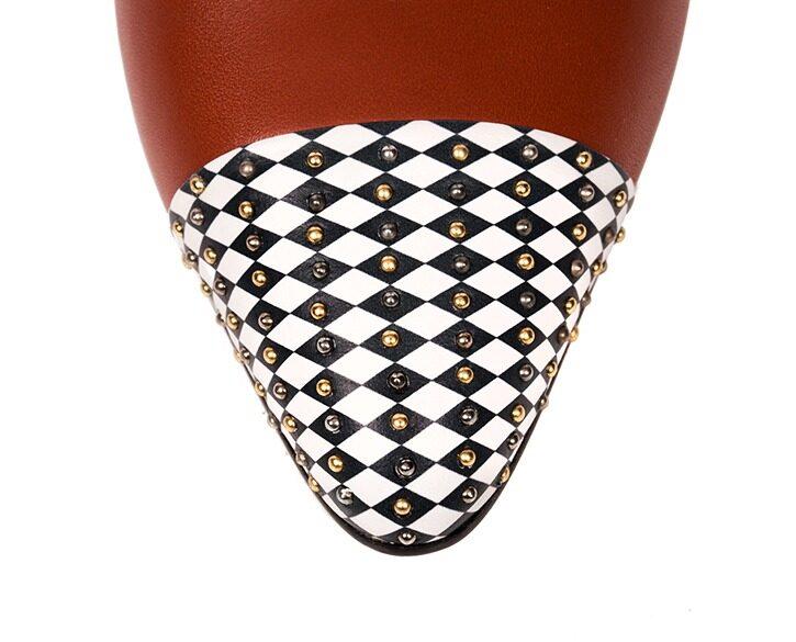 Mastra Ma' - Diana burnt orange ankle strap high heel with, diamond pattern, studs, platform, memory foam and anti-slip sole