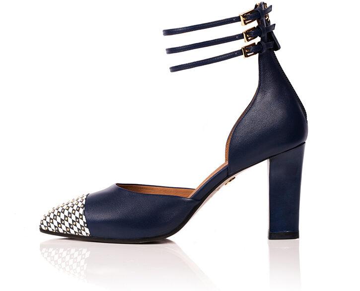 Mastra Ma' - Diana royal blue ankle strap high heel with studs, diamond pattern, platform, memory foam and anti-slip sole