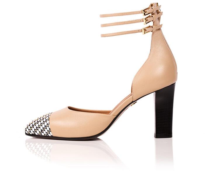 nude beige ankle straps heel