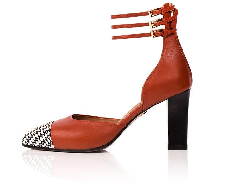 Mastra Ma' - Diana burnt orange ankle strap high heel with studs, diamond pattern, platform and anti-slip sole