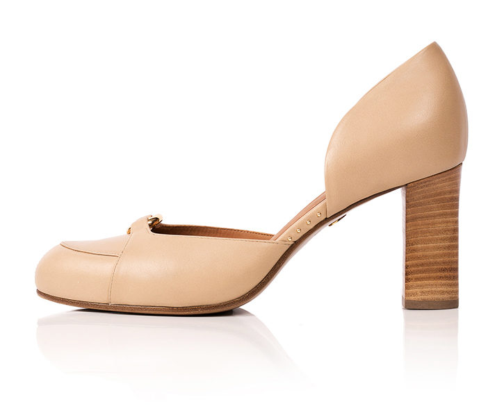 Mastra Ma' Elena nude ankle strap high heel with gold ring, studs, memory foam, platform and anti-slip sole