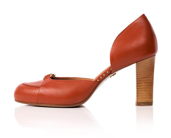 Mastra Ma' Elena burnt orange ankle strap high heel with gold ring, studs, memory foam, platform and anti-slip sole