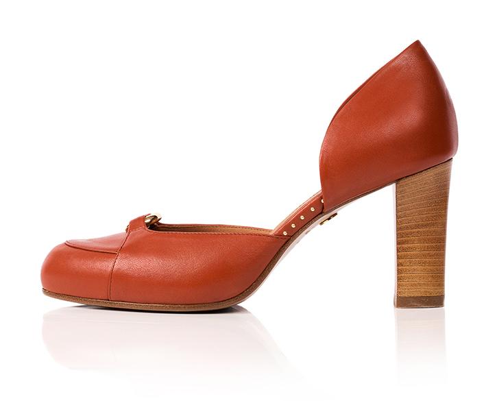 opera lealtà cabina  Elena - high heels shoe with ring and studs in burnt orange - Mastra Ma'
