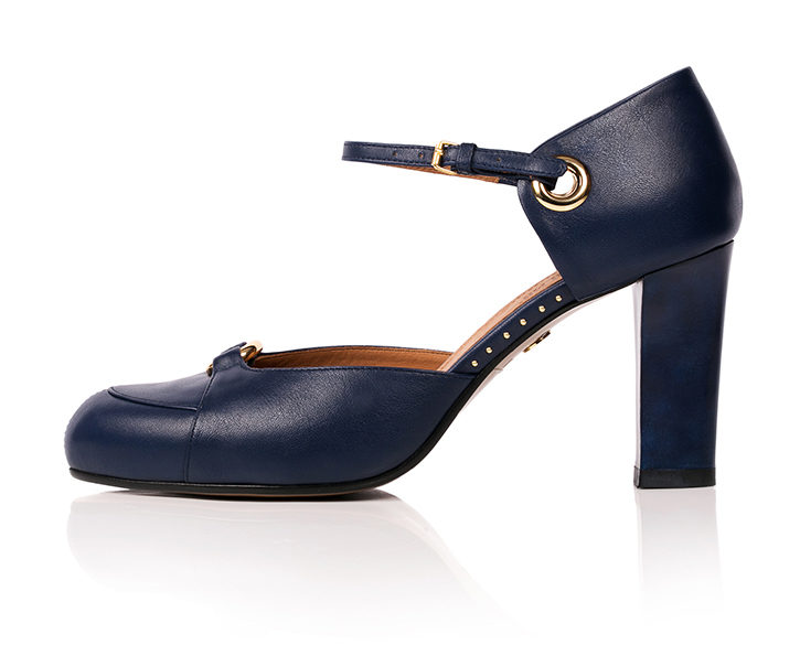 Mastra Ma' Sara royal blue ankle strap high heel with gold ring, studs, memory foam, platform and anti-slip sole