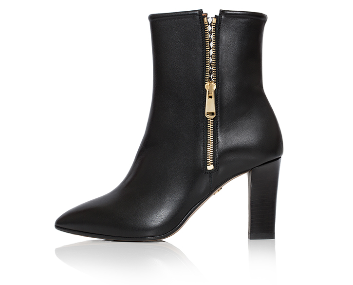 mastra ma' shoes - Flavia black ankle boot with memory foam and cuoio leather heels