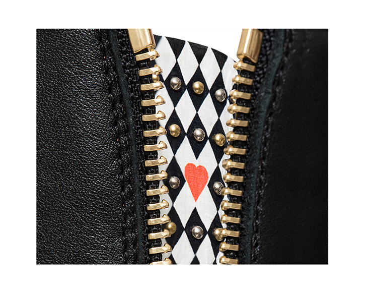 mastra ma' shoes - Flavia black ankle boot with studs, diamond pattern and red heart - detail