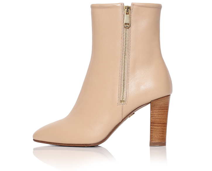 Flavia - Ankle Boot For Women In Nude Beige - Mastra Ma' Luxury Shoes - Zipped