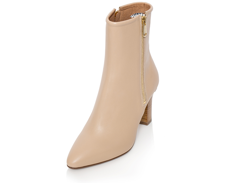 Flavia - Ankle Boot For Women In Nude Beige - Mastra Ma' Luxury Shoes - Side View
