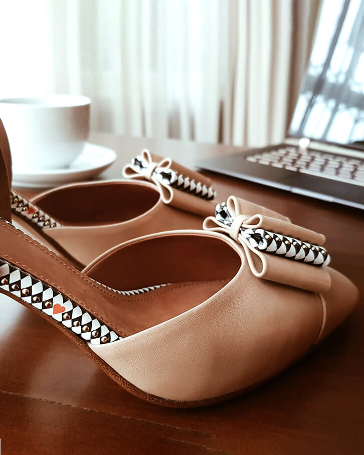 Anna nude high heels with studs, red heart, black and white diamond pattern, platform, anti-slip sole, memory foam padding and cuoio leather heels - office photo
