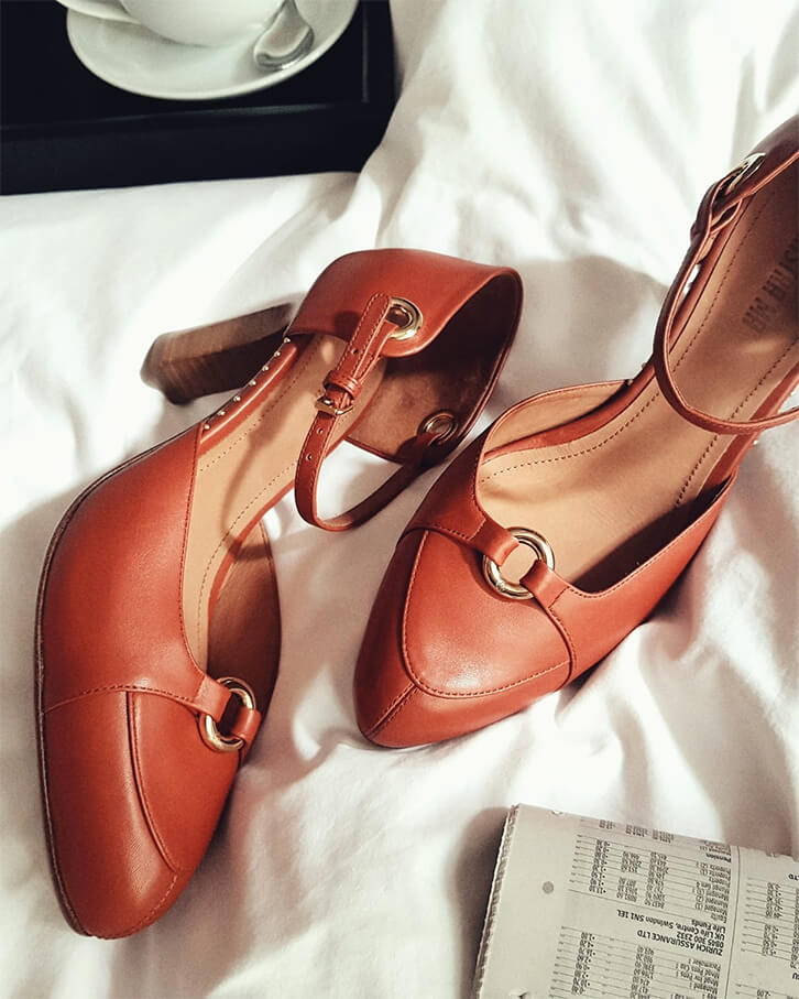 Sara burnt orange ankle strap high heels with studs, platform, anti-slip sole, memory foam padding and cuoio leather heels.